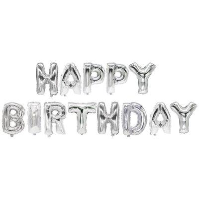 """Folie Ballon Set """"Happy Birthday"""" Zilver -horecavoordeel.com-"""