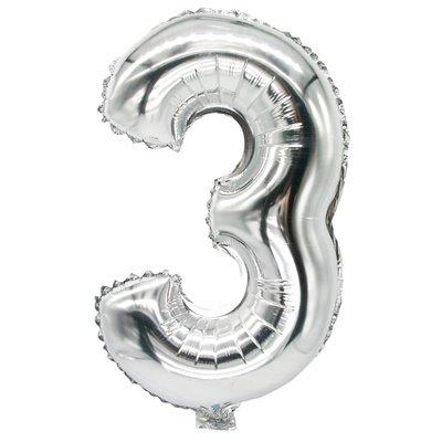 """Folie Ballon Zilver Cijfer """"3"""" 350 x 200mm -horecavoordeel.com-"""