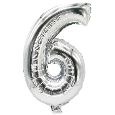 """Folie Ballon Zilver Cijfer """"6"""" 350 x 200mm -horecavoordeel.com-"""