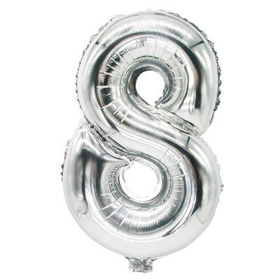 """Folie Ballon Zilver Cijfer """"8"""" 350 x 200mm -horecavoordeel.com-"""