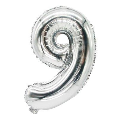 """Folie Ballon Zilver Cijfer """"9"""" 350 x 200mm -horecavoordeel.com-"""