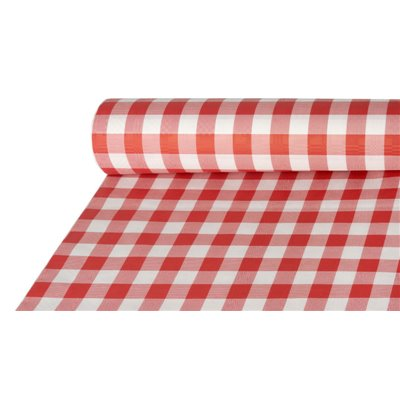 "Tafelkleed Papier Rol Rood ""Vichy Karo"" Met Damastprint 50 x 1 meter -horecavoordeel.com-"