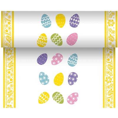"""Tafelloper Airlaid """"Coloured Eggs"""" 24m x 400mm -horecavoordeel.com-"""