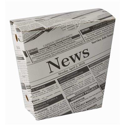 """Friet Cones Met Vaste Deksel """"Newsprint"""" Kraft Karton 1200cc 43 x 145 x 110mm -horecavoordeel.com-"""