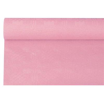 Tafelkleed Papier Rol Lichtroze Met Damastprint 6 x 1,2 meter -horecavoordeel.com-