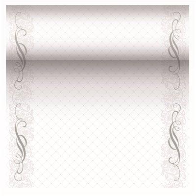 "Tafelloper Zilver ""Megan"" ""Textielkarakter"" Van Pulp Viscose En Tissue Mix ""ROYAL Collection"" 24m x 400mm -horecavoordeel.com-"