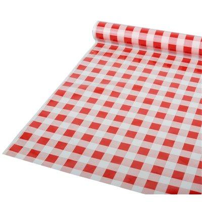 """Tafelkleed Plastic Rood """"Karo"""" 50m x 800mm (Klein-verpakking) -horecavoordeel.com-"""