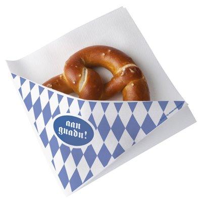 """Snack Servetten Airlaid Wit """"Beiers Blauw"""" 1/4 Vouw 325 x 305mm -horecavoordeel.com-"""
