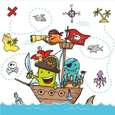"""Servetten """"Pirate Crew"""" 3-Laags 1/4 vouw 330 x 330mm -horecavoordeel.com-"""