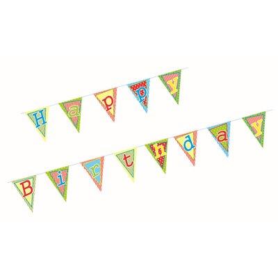 """Wimpel Slinger Papier """"Happy Birthday"""" Met Beschermingslaag 4 meter"""
