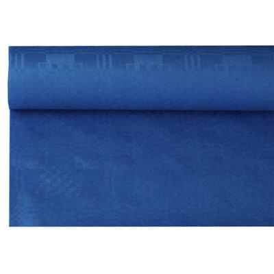 Tafelkleed Papier Rol Donkerblauw Met Damastprint 6 x 1,2 meter
