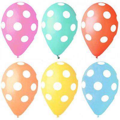 """Ballonnen """"Dots"""" Kleuren Assortiment (Geschikt voor Helium) Ø 290mm"""