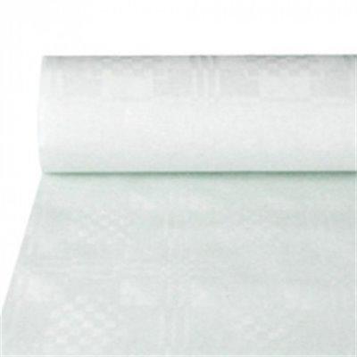 Tafelkleed Papier Rol Wit Met Damastprint 50 x 1 meter (Klein-verpakking)
