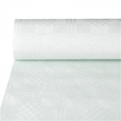 Tafelkleed Papier Rol Wit Met Damastprint 50 x 1,2 meter (Klein-verpakking)