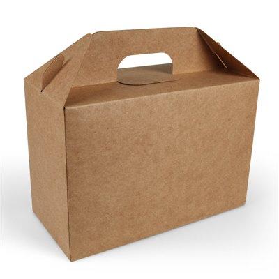 Maaltijdbox Met Handvat Karton Bruin 265 x 128 x 180mm